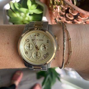 Michael Kors Runway Two Tone Gold & Silver Watch